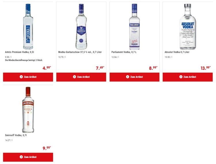 Цены на водку в Германии