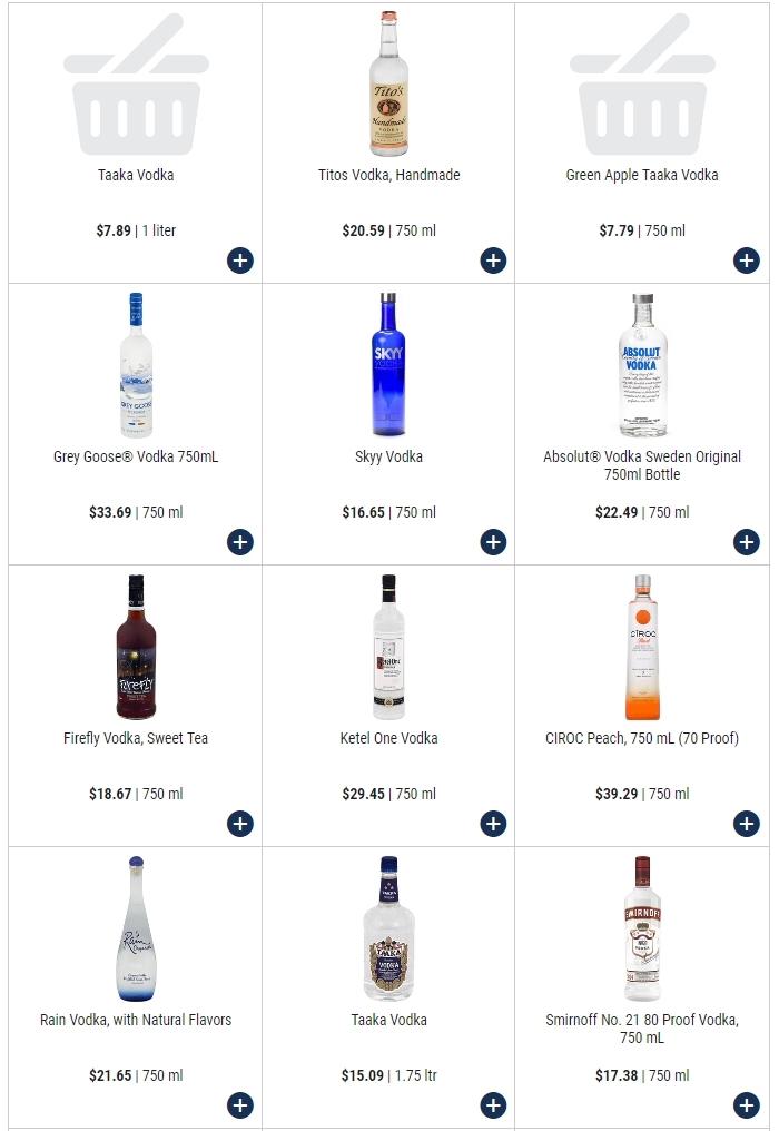 Цены на водку в США