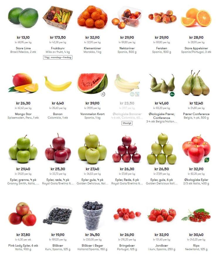 Цены на фрукты в Норвегии
