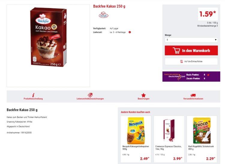 Сколько стоит обычный какао в Германии