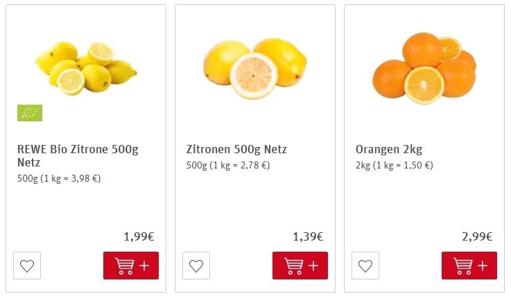 Цены на лимоны в Германии
