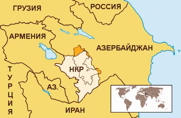 Расположение и ресурсы Нагорного Карабаха