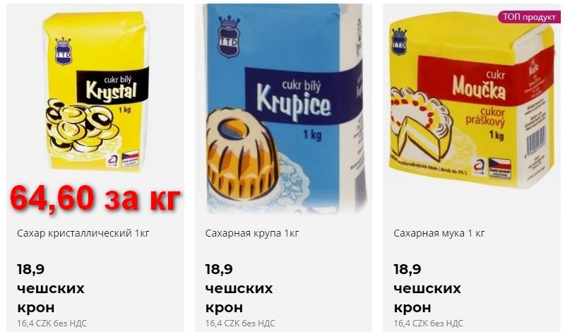 Цены на сахар в Чехии