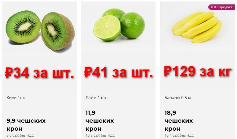 Цены на фрукты в Чехии