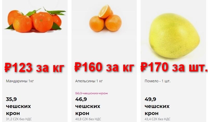 Цены на цитрусы в Чехии