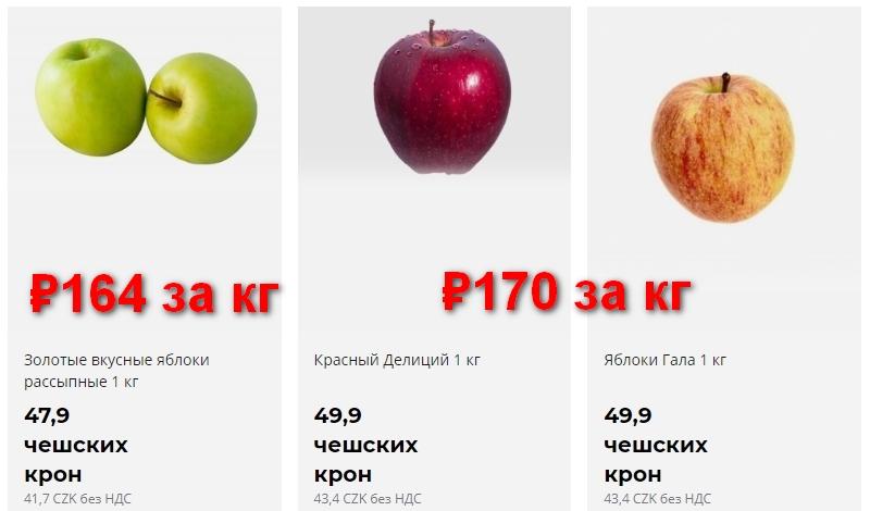Цены на яблоки в Чехии