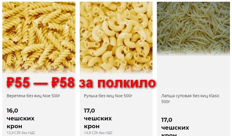 Цены на макароны в Чехии