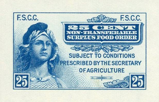 Талоны на еду в США: синий талон образца 1939 года