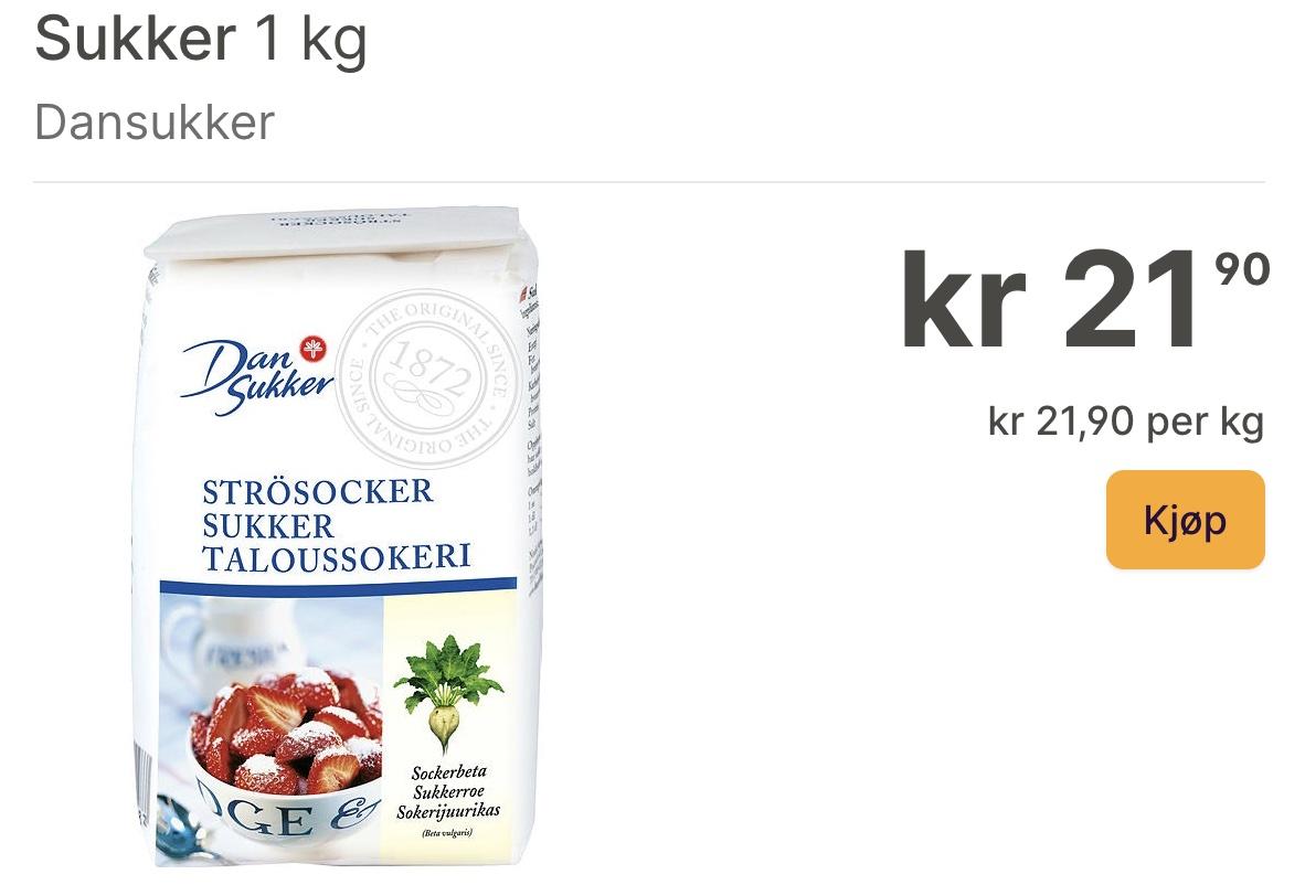 Цены на сахар в Норвегии